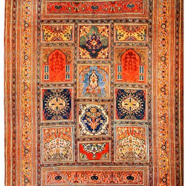 Seidenteppich aus antikem Täbris-Gewebe, Iran.