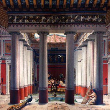 Griechenland. Hauptraum eines vornehmen athenischen Hauses, Peristyl.