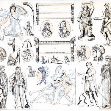 Persische Trachten der Antike. Phrygische Mütze. Die Amazonen.