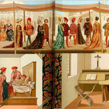 Hochzeit des Boccaccio degli Adimari. Mode der ital. Renaissance.
