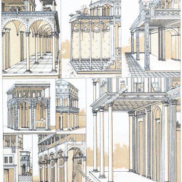 Der Portikus des städtischen Hauses der Toskana. Frührenaissance.