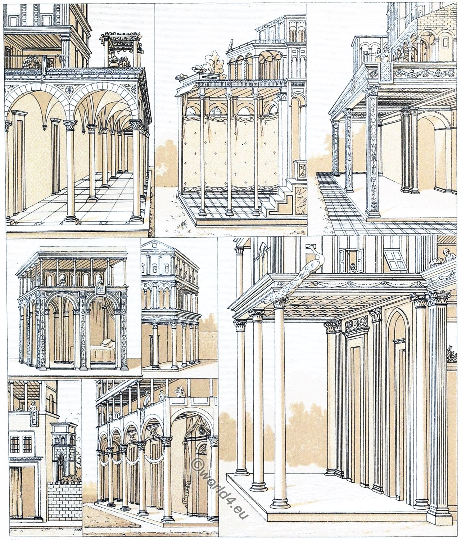 Architektur, Frührenaissance, Portikus, Toskana, Loggia, Pilaster