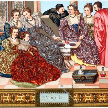Italien. Mode des venezianischen Adels im 16. Jahrhundert.