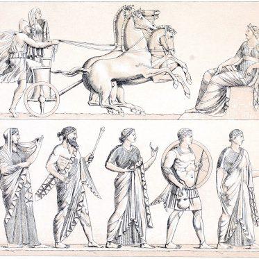 Die Quadriga. Griechisch-römische Götter. Griechenland und Rom.