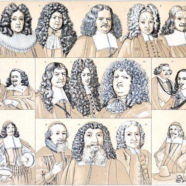 Bart, Haar und Perücken Moden während des 17. und 18. Jahrhunderts.
