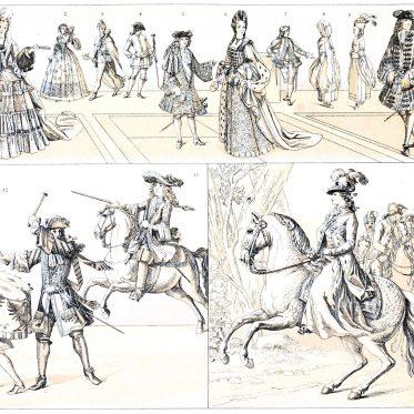 Deutsche Moden des Adels und Bediensteten im 17. u. 18. Jahrhundert.