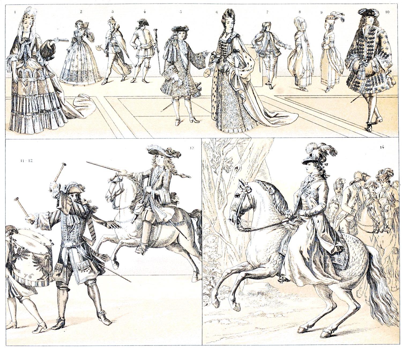 Barock, Rokoko, Fürstenhöfe, Deutschland, Moden, Kostüme, Trachten, Bediensteten, Hoftoilette, Dienerschaft, Militärische, Uniformen,
