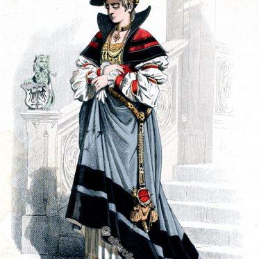Deutsche Edelfrau in der Mode vom Anfang des 16. Jh.