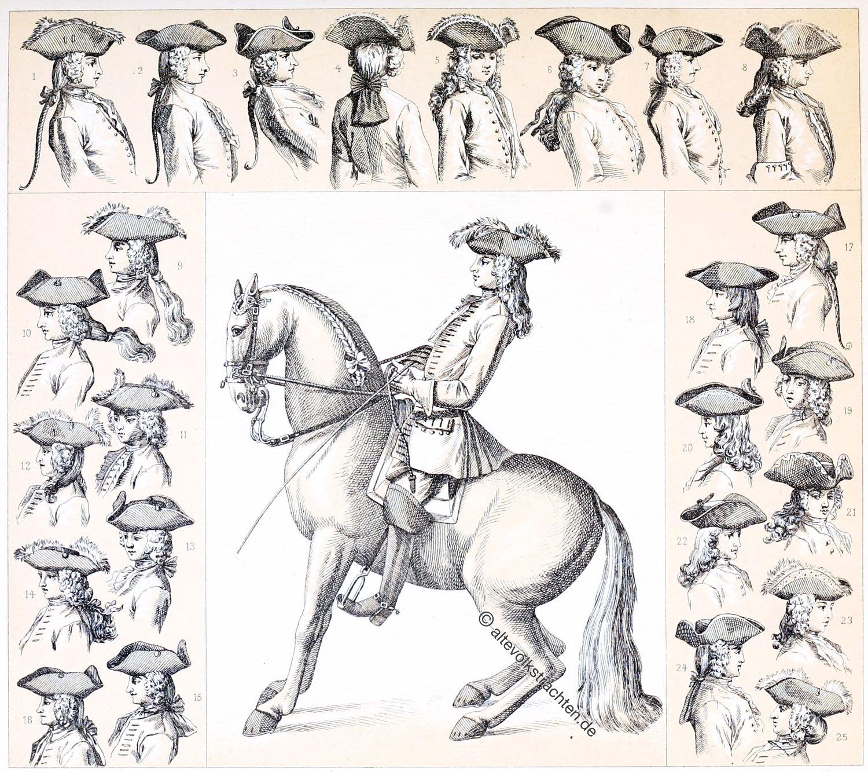 Dreispitz, Tricorne, Rokoko, Barock, Mode, Frisuren, Hüte, Reitschule,