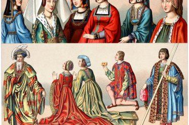 Mittelalter, Mode, Frankreich, Frisuren, Kleidung,