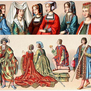 Frankreich. Haartracht der Männer und der Frauen 1485-1510.