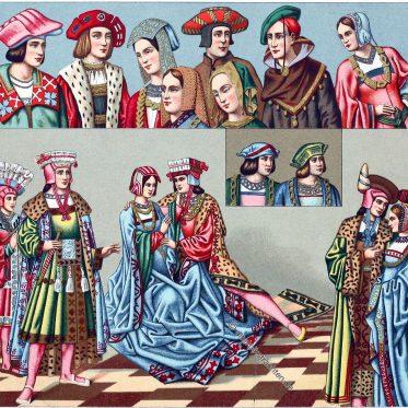 Frankreich. Die festliche Tracht von 1485-1510. Haartrachten.