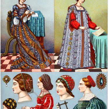 Italien. Weibliche Kostüme, Frisuren u. Kopfbedeckungen im 16. Jh.