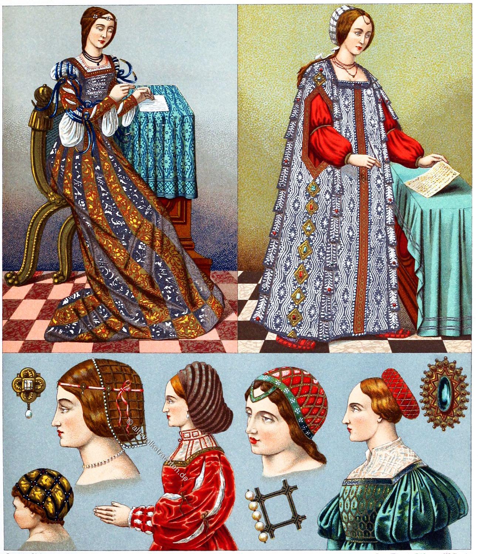 Auguste Racinet, Italien, Kostüme, Kleidung, Trachten, 16. Jahrhundert, Hutmode, Renaissance