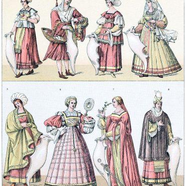 Italien. Weibliche Trachten der Frührenaissance. Der Balzo.