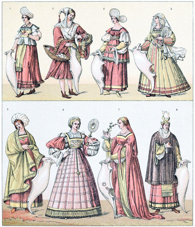 Italien, Mode, Frührenaissance, Kostüme, Trachten, balzo