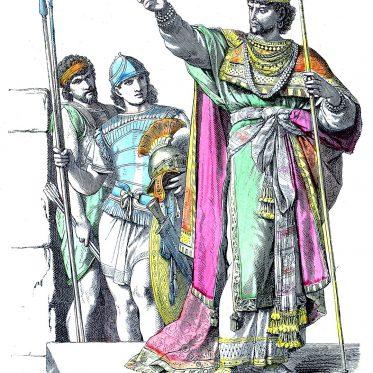 Bekleidung eines jüdischen Königs und jüdischer Krieger des Altertums.