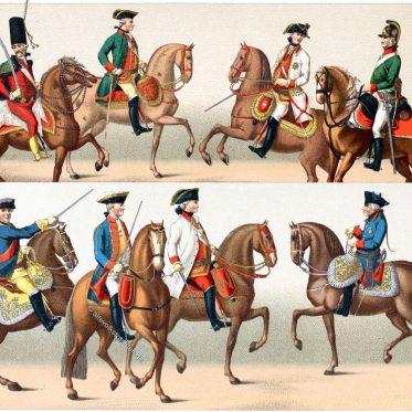 Uniformen des siebenjährigen Krieges. Generäle der Kavallerie.