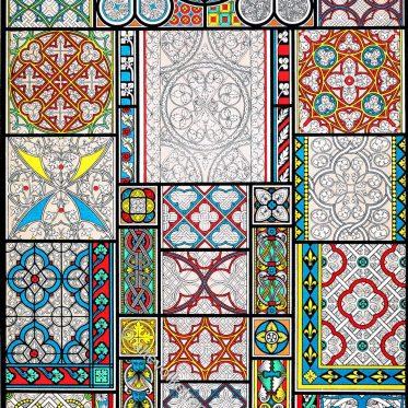 Glasmalerei in Grisaille-Technik im Mittelalter des 13. 14. und 15. Jhs.