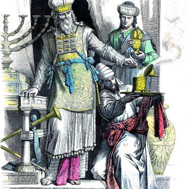 Jüdischer Oberpriester. Leviten. Kleidung des Altertums.