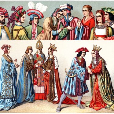 Frankreich. Trachten aus dem Ende des 15. Jh. Kopfbedeckungen.