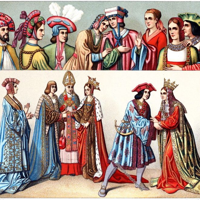 Gewandung, Kopfbedeckung, Mittelalter, Mode, Kostüme