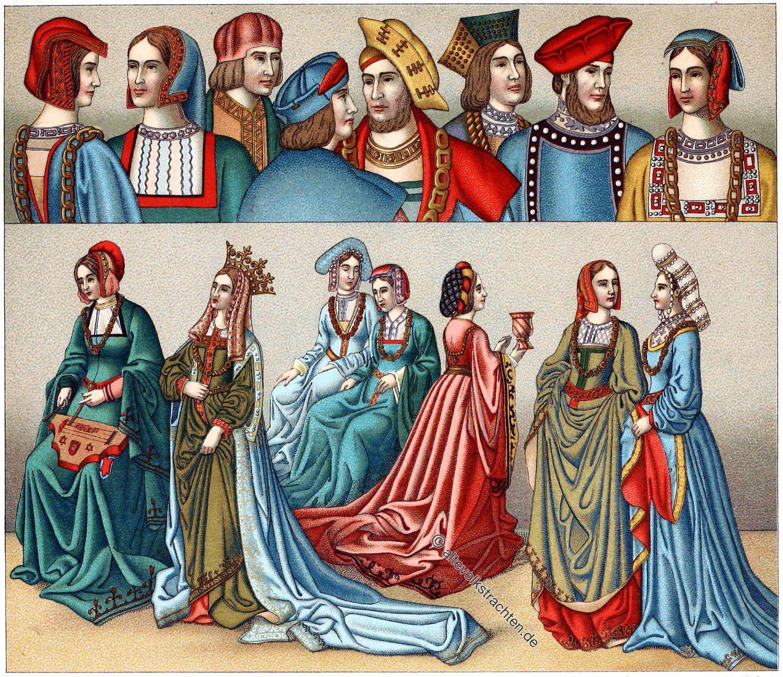 Auguste Racinet, Kopfbedeckung, Mittelalter, Mode, Kostüme