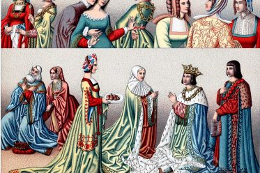 Auguste Racinet, Renaissance, Staatskostüm, Schleppe, Robbe, Mode, Italien,