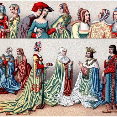 Die Schleppe. Mode von 1458 - 1510. Staatskostüme der Renaissance.