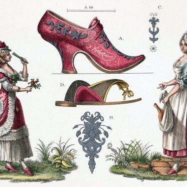 Schuhmode und Kostüme aus der 2. Hälfte des 18. Jahrhunderts.