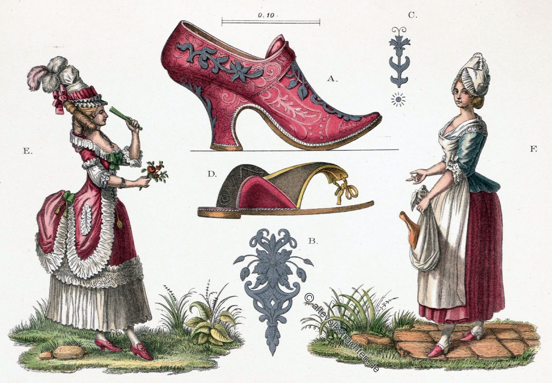 Rokoko, Kleidung, Kostüme, Schuhmode, Frauentrachten, 18. Jahrhundert, Mode