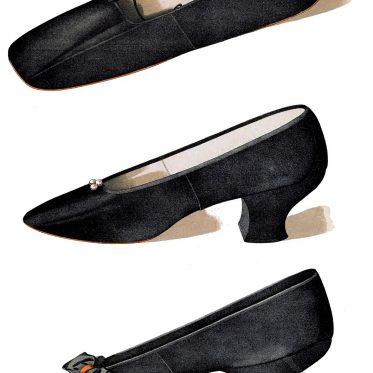 19 Jh. Schuhe aus schwarzem Satin. Frauenschuh mit Louis XV Absatz.