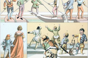 Italien, Gondoliere, Kostüme, Hofnarren, Pagen, Zwerge, Venedig, Mittelalter, 15. Jahrhundert,