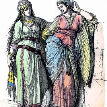 Vornehme Jüdinnen in der Kleidung des Altertums.
