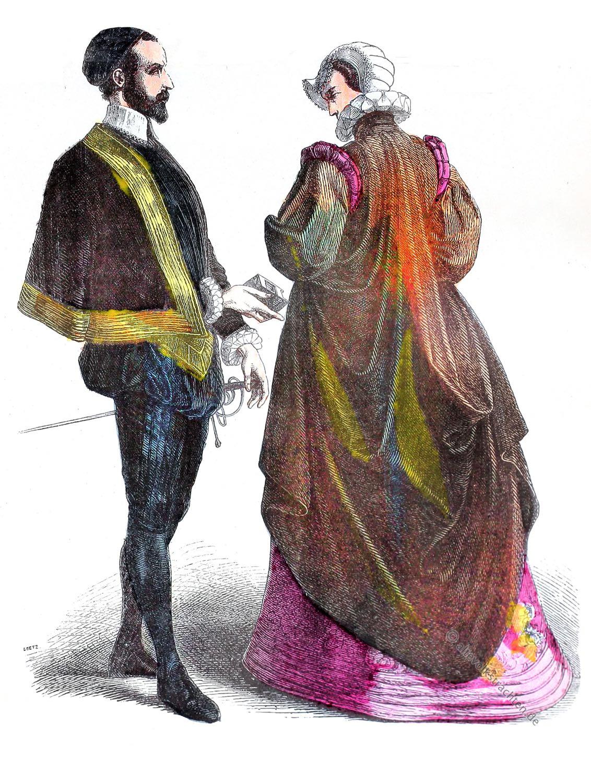 Münchener Bilderbogen, Französische Hoftrachten, Heerpauke, Vertugado, Kostüme, Renaissance, spanische hofmode,