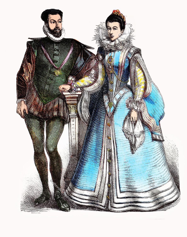 Französische Hoftrachten, Münchener Bilderbogen, Heerpauke, Vertugado, Kostüme, Renaissance, spanische hofmode,