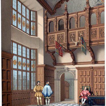 Die Galerie der Halle von Hatfield-house. England im 17. Jh.