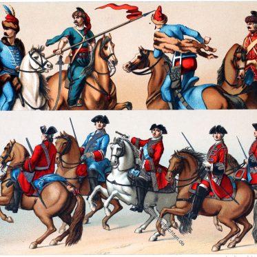 Garde du Corps. Husaren und Ulanen. Uniformen des 18. Jhs.