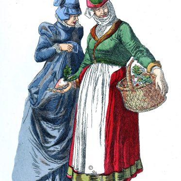Historische Trachten des 16. Jhs. aus Lothringen und dem Elsass.
