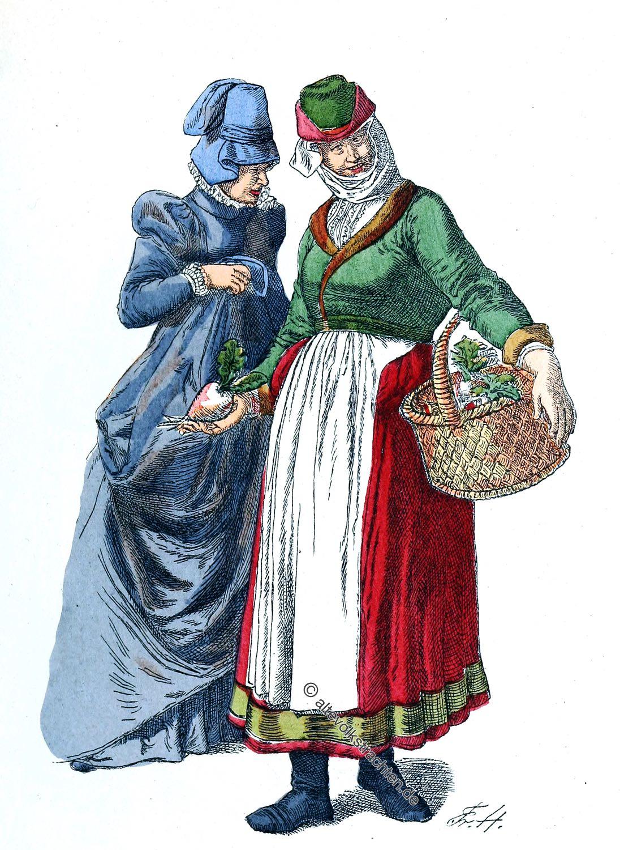 Trachten, Bekleidung, Mode, Lothringen, Elsass, Strassburg, Metz, Bäuerin, Frankreich