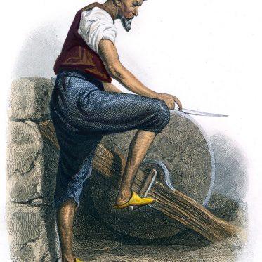 Arabischer Messerschleifer in Kairo Anfang des 19. Jh.