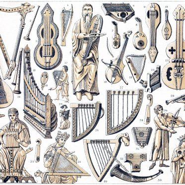 Musikinstrumente im Mittelalter vom 12. bis zu 16. Jahrhundert.