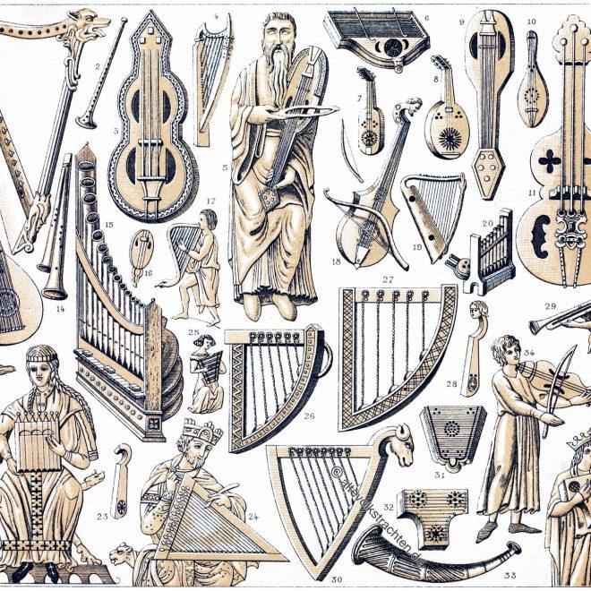 Musikinstrumente, Mittelalter, Blasinstrumente, Streichinstrumente, Saiteninstrumente,