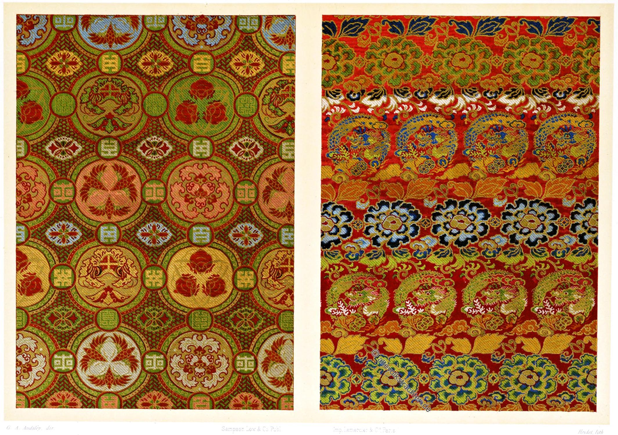 Japan, Textildesign, Orihon, Faltbuch, Leporello, Volkskunst, Bucheinband