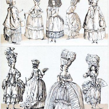 Frauentrachten des Rokoko. Extravaganz der Kleidung und Frisuren.