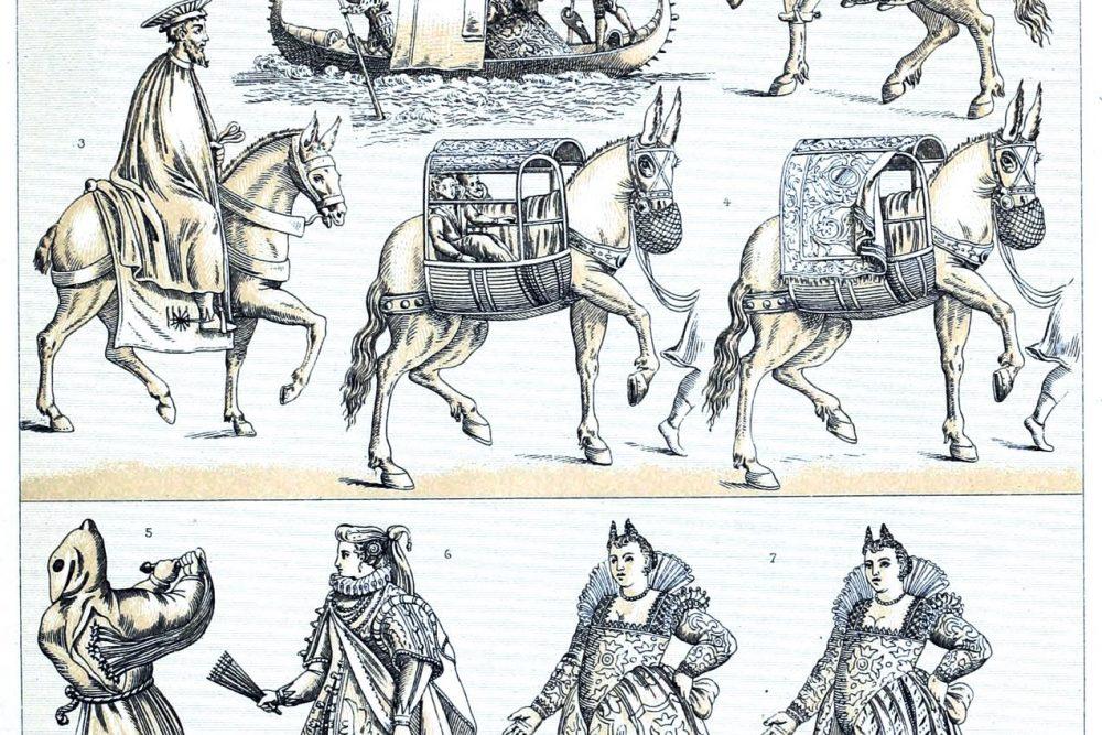 Renaissance, Kurtisane, Kostüme, Mode, Venezianerinnen, Transportmittel, Tragtiere, Gondeln