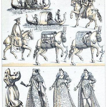 Venezianerinnen. Venezianische Kurtisane. Transportmittel. Italien 16. Jh.