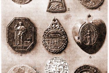 Amulette, Talismane, Agnus Dei, Rahel-Grab, Exorzisten-Medaille, Benediktusmedaille, Fraisenkreuz, Pestamulett, Choleraherz,