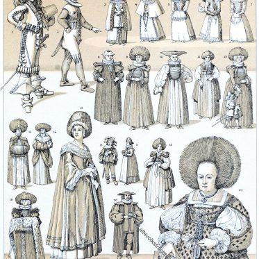 Die Moden der verschiedenen Stände. Deutschland 17. Jahrhundert.