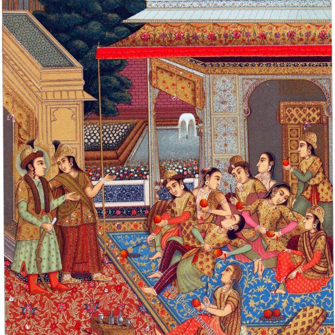 Auguste Racinet, Indien, Harem, Miniatur, Malerei,